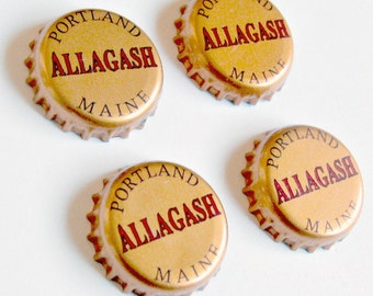 Craft Beer Magnet Set, Allagash Brewery Magnets, Maine Beer Bottle Top Magnets, Set of Four, File Cabinet Magnet, Refridgerator Magnets