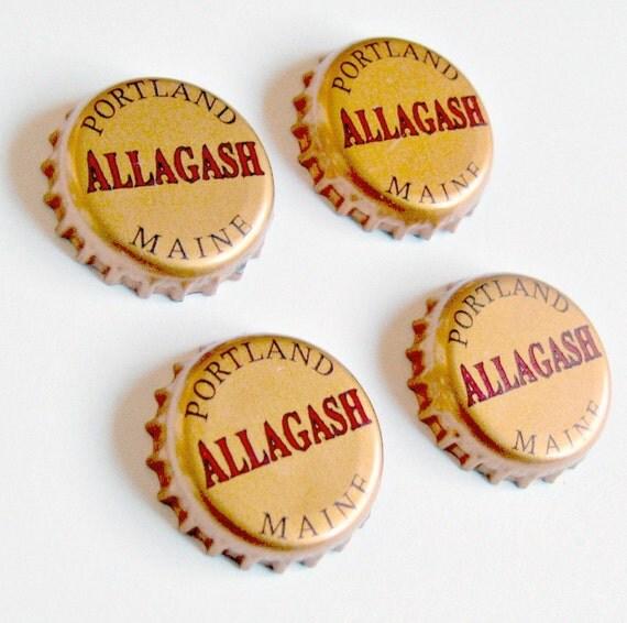 Craft Beer Magnet Set, Allagash Brewery Magnets, Maine Beer Bottle Top Magnets, Set of Four, File Cabinet Magnet, Refridgerator Magnets