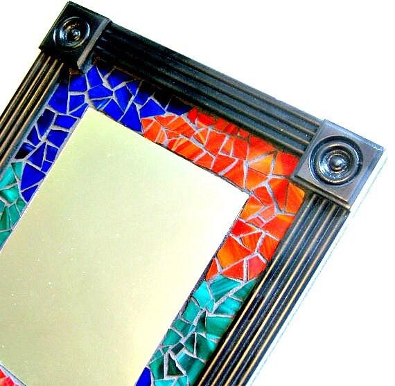 Mosaic Wall Mirror, Framed Mosaic Mirror, Multicolored Mosaic Mirror, Black Red Blue Green Mirror, Stain Glass MIrror