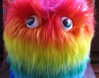 MONSTER!! Rainbow BIG Fluffy Monster Box Adorable Soft Cute Box to hide your stuff in plain sight! Furry and FUN!