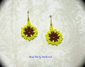 ON SALE Yellow Flower Native American Style Handwoven Seed Bead Earrings Medallion Boho Fashion Hippie Ethnic Gypsy