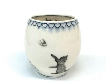 Cat Black Mishima Yunomi Cup