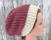 Crochet Slouchy Beanie Hat in Off White and Dusty Rose