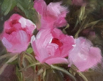 "Small Original Oil Painting, Wild Roses, 4 x 4"", Unframed, Wall Art"