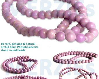 MERZIEs 10 rare 6mm genuine lilac orchid lavendar PHOSPHOSIDERITE natural gem stone round beads - Combined Shipping