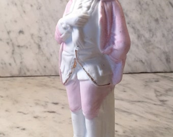 Victorian Man Figurine Baby Pink George Washington Hair Colonial Style