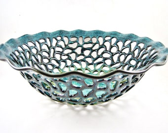 Modern Teal blue Ceramic Home Decor, Handmade pottery lace bowl, Great Wedding Gift Idea (in stock )