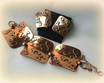 Retro Copper Bracelet & Earrings, big squares repousse, 40s 50s