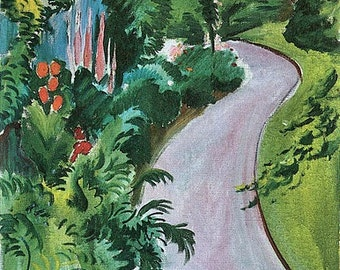 Path in the Garden by August Macke mono deluxe Needlepoint Canvas