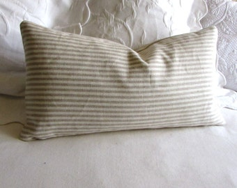French Laundry  natural  on ivory Stripes 12x20 pillow With INSERT