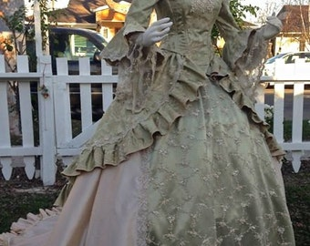 Off Shoulder Romantic Sage & Champagne Rosebud Antoinette Victorian Gown Custom