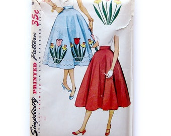 Vintage Pattern Simplicity 4532 Sewing Pattern 1950s Full Skirt Rockabilly High waist Tulip Rick Rack Poodle Circle / Uncut FF Size 26