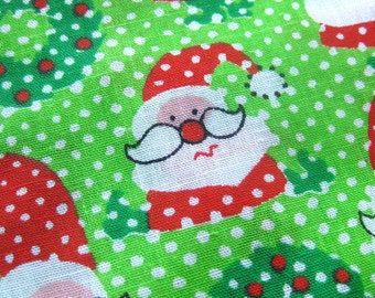 Vintage Christmas Fabric with Cute Santa and Wreaths and Polka Dots / COTTON Yardage