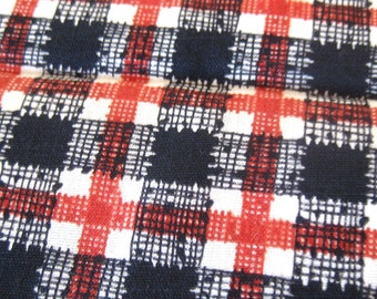1950s Vintage Cotton Fabric - PLAID Print in Black, Rust and White - Light Weigh Fifties Cotton Yardage