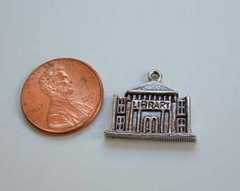 Library Charm silver or gold Carnegie Building pewter made in USA