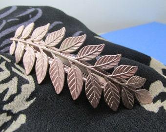 Rose Gold Bridal barrette Ferns leaf hair clip thick hair barrettes fern barrette Hair accessories