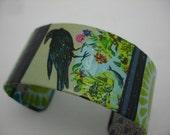 Funky Black Bird Bracelet Decoupage Cuff Bracelet Bird Cuff