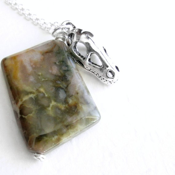 Necklace, Coprolite Fossil Dinosaur Dung Jewelry, Sterling Silver