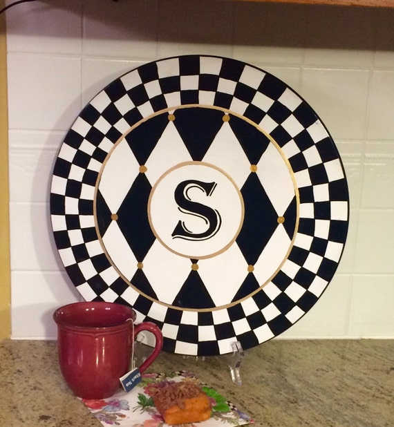 Painted Lazy Susan // whimsical painted turntable // monogrammed Lazy Susan //