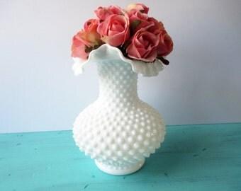 Vintage Fenton Milk Glass Hobnail Classic Ruffled Vase