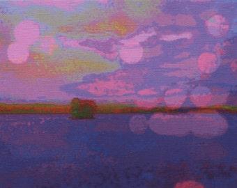 Digital print on canvas- Purple Haze on the Hudson River by Gretchen Kelly