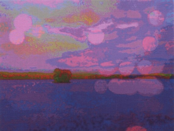 Digital print on canvas- Purple Haze on the Hudson River by Gretchen Kelly