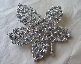 Maple Leaf Aurora Silver Brooch Rhinestone Filigree Vintage Pin