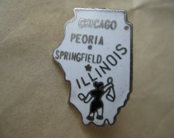 Illinois Lapel Pin White Silver Tie Tack Vintage Brooch Enamel State