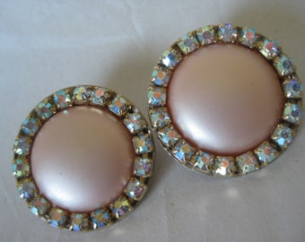 Orange Pastel Pearl Aurora Earrings Clip Vintage Gold Rhinestone Round AB