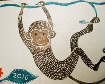 Year Of The Monkey, birth year block print on board, printmaking,