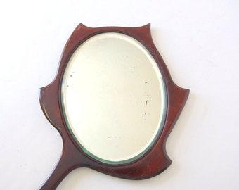 Vintage Wood Vanity Hand Mirror - Wicked Queen Looking Glass