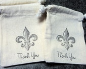 6 Muslin Bags, Black Fleur De Lis, Gift Bags, Wedding Favor Bags, Packaging, 3x4 Inches, Hand Stamped, Party Favor Bags