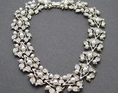 Rhinestone Pearl Necklace Wide Choker Bridal Jewelry N6892