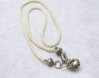 Pearl Necklace Sterling Etruscan Clasp Bridal Jewelry N6896