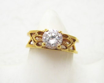 Vintage Rhinestone Ring Double Band R7074