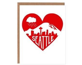 Seattle Heart Card -- Mount Rainier, Rain Cloud and Skyline