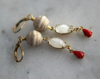 50% Off Ivory White Earrings, Red Teardrop Dangles, Vintage Crystal , Gold Leaf, Feminine, Elegant, Retro Earrings