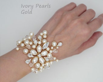 Gold Bridal Bracelet Pearl Wedding Bracelet Statement Bracelet Swarovski Bridal Jewelry Crystal Bracelet Wedding Cuff Bracelet