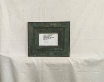 Reclaimed Wood 4x6 Picture Frame Photo Shabby Green Cottage Chic 408-16