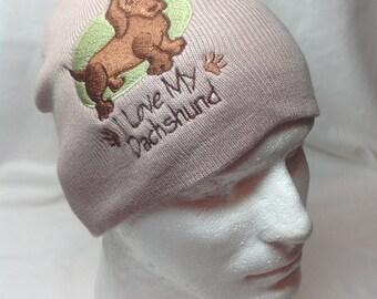 I Love My Dachshund Tan Hat Beanie Skullcap Dog Puppy Pet Brown Weiner Dog