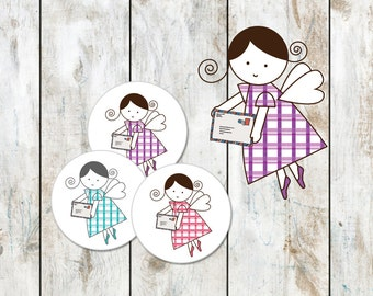 Angel Mail Stickers - ChemoAngel Stickers - Snail Mail Stickers - Angel Envelope Seals - 24 Round Stickers