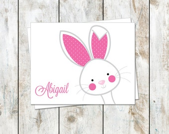 Bunny Stationery Notes - Easter Stationery - Personalized Bunny Folded Cards - Folded Stationery - Stationery folded Cards