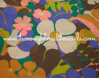Colorful Blooms - Vintage Fabric New Old Stock 60s 70s Tropical F;par; Island