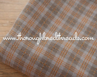Mad About Plaid - Vintage Fabric Multi-Colored Checked Taupe Brown Orange