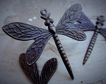6pc Medium Dragonfly Hand Oxidized Brass Vintage Victorian Art Deco Stl Stone Wraps Brown Black Antique Bronze Patina Jewelry Findings 6C