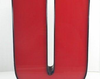 Vintage Industrial U big red and black plastic and Metal Sign Lette U