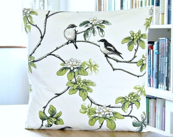 birds decorative pillow cover, white grey black green flowers, cushion cover 20 inch