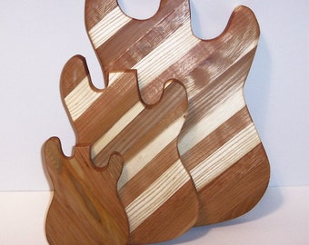 Guitar Wood Cutting Boards (Set of 3) Handcrafted from Mixed Hardwoods