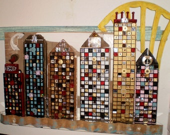 Salvaged Wood Waterfront  Cityscape,