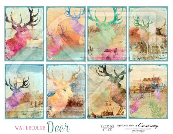 NEW !! ATC, 2,5 x 3,5 inch, Deer, Watercolor Clipart, Altered Art, Digital Collage Print Sheet no265